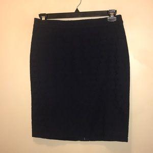 J Crew Women's Navy Blue Floral Pencil Skirt 6.